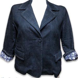 Talbots blue denim blazer jacket
